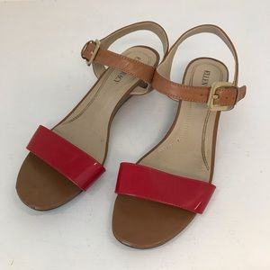 Ellen Tracy June Leather Red/Brown Sandals